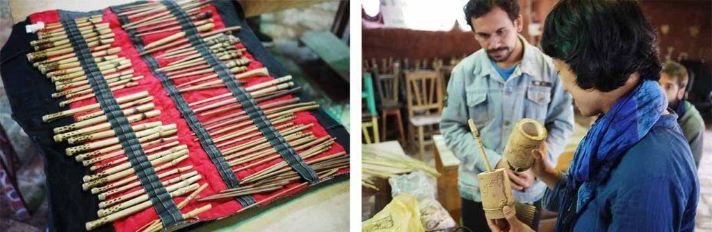 竹のボンビージャとテレレ容器とセットの写真