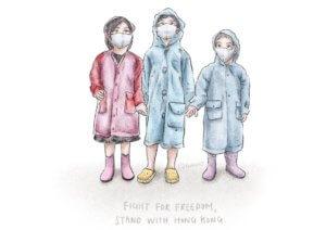 マスクをつけ雨合羽を着た子どもたちのイラスト