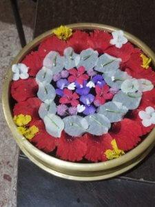 私が採ってきた花をウーシャが美しく活けてくれた。